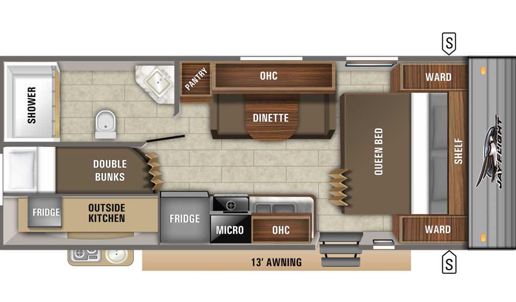 Jay Flight SLX 224BH floor plan diagram.