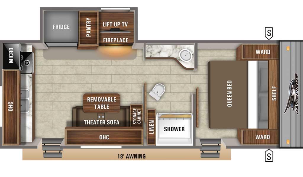 Jay Flight SLX 235RKS floor plan diagram.