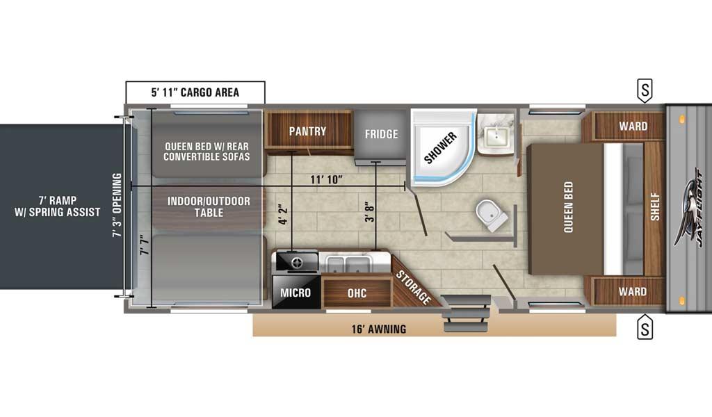 Jay Flight SLX 236TH floor plan diagram.