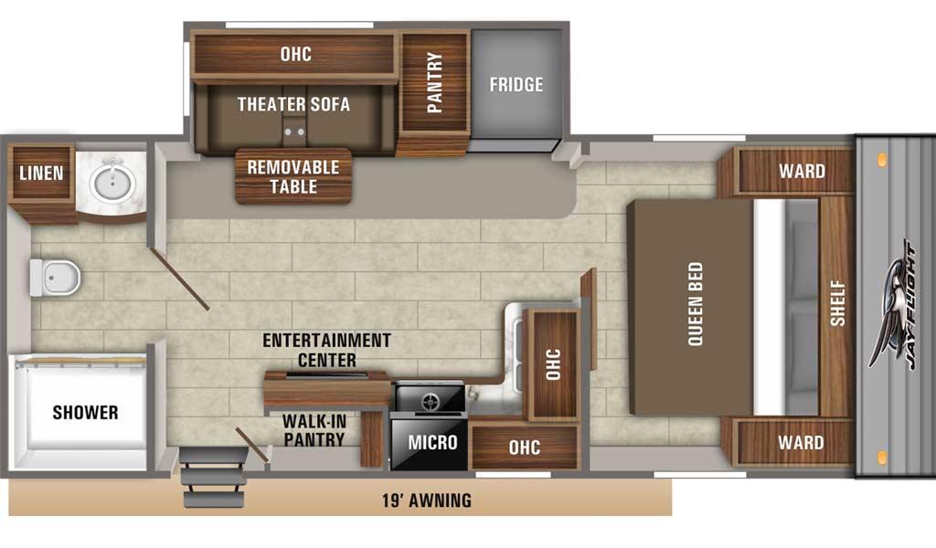 Jay Flight SLX 237RBS floor plan diagram.