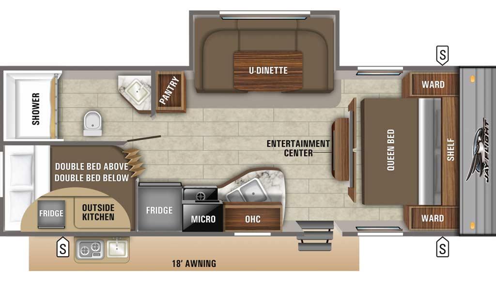 Jay Flight SLX 242BHS floor plan diagram.