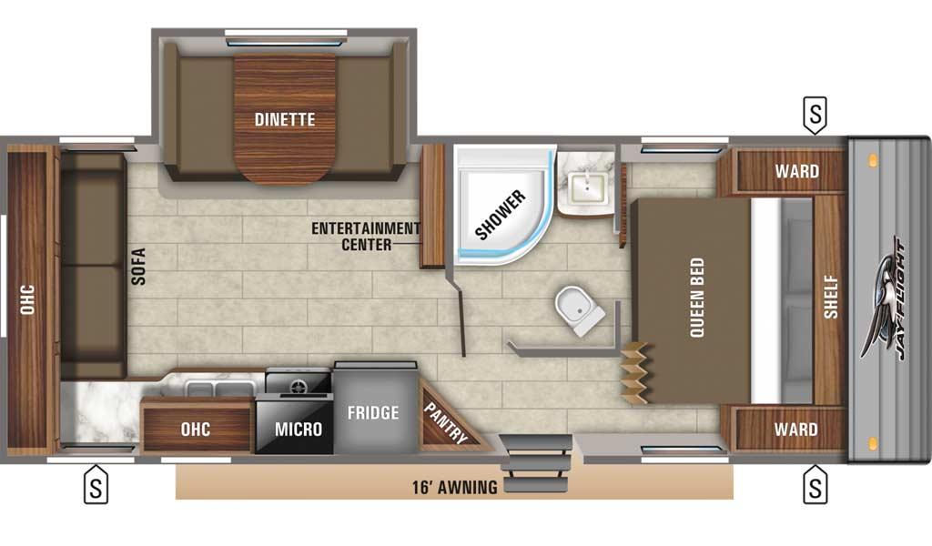 Jay Flight SLX 245RLS floor plan diagram.