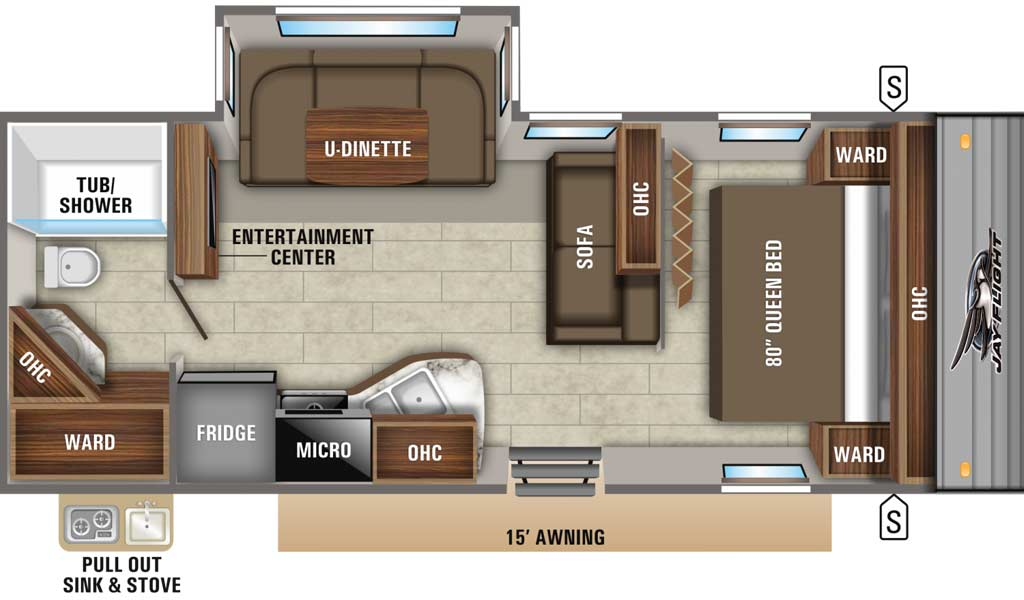 Jay Flight 24RBS floor plan diagram.