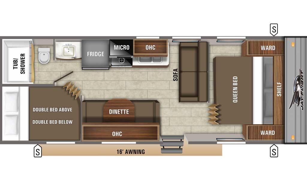 Jay Flight SLX 264BH floor plan diagram.