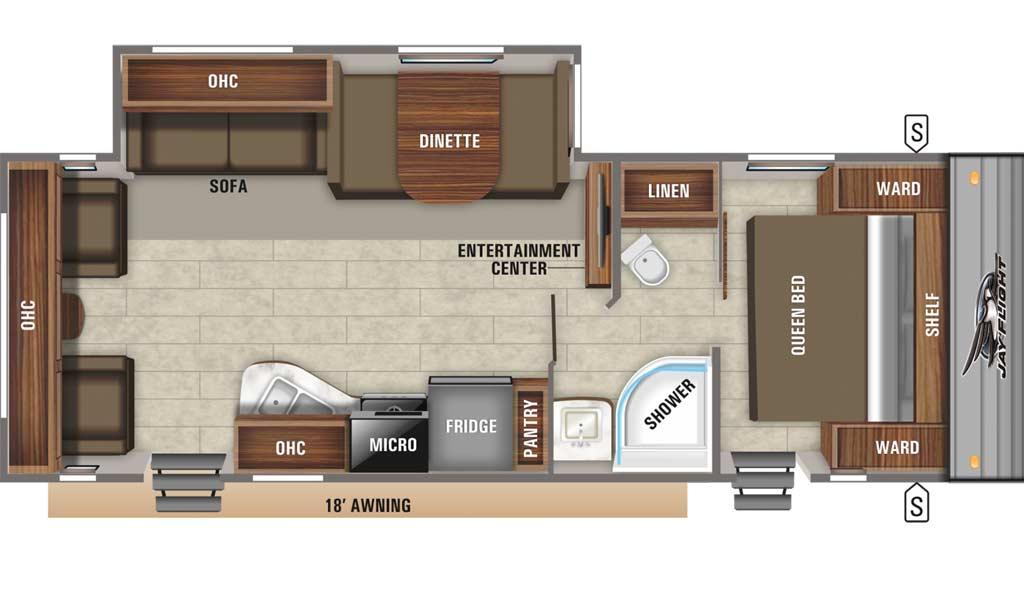 Jay Flight SLX 265RLS floor plan diagram.