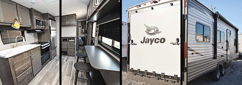 Photo collage shows rear exterior and interior of Jay Flight SLX 265TH toy hauler travel trailer.