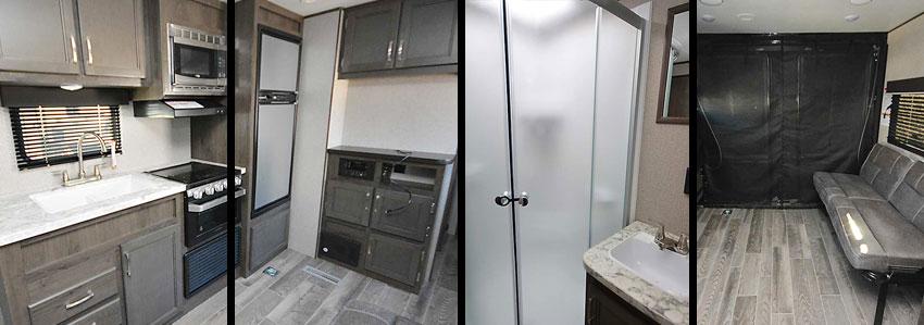 Photo collage shows interior of Jay Flight SLX 265TH toy hauler travel trailer.