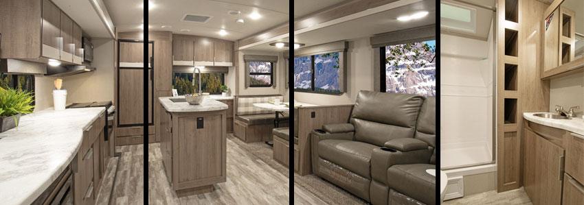 Collage of photos of interior of Grand Design Imagine 2670MK.