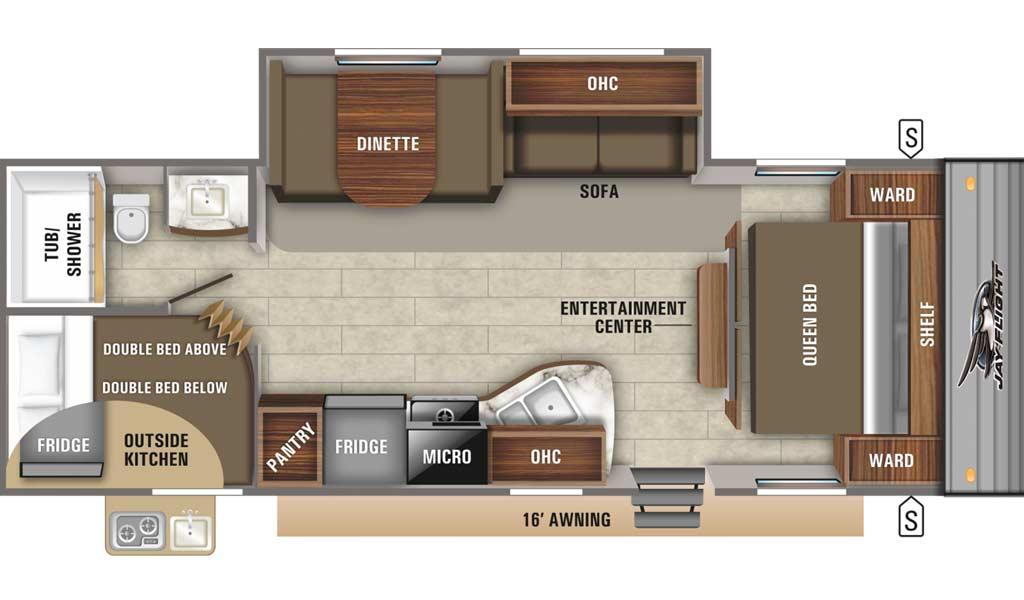 Jay Flight SLX 267BHS floor plan diagram.