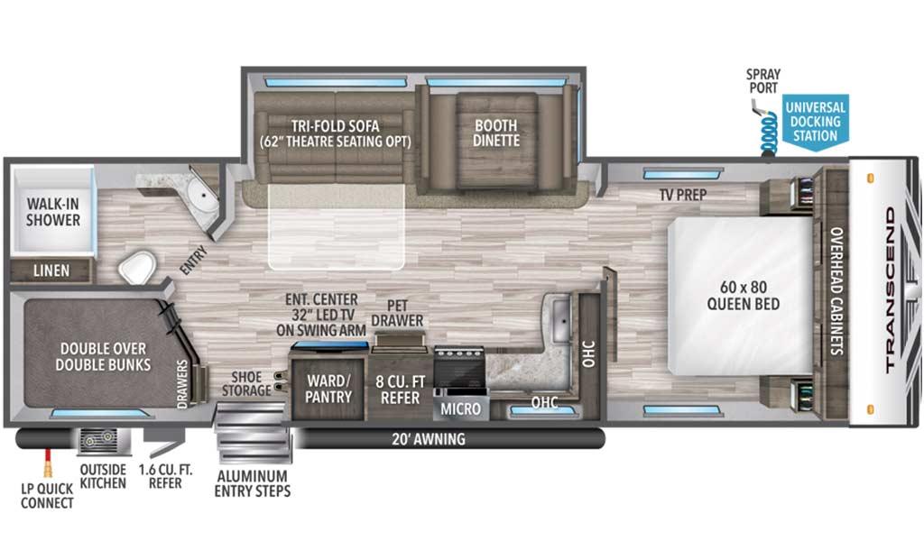 Transcend 27BHS floor plan diagram.