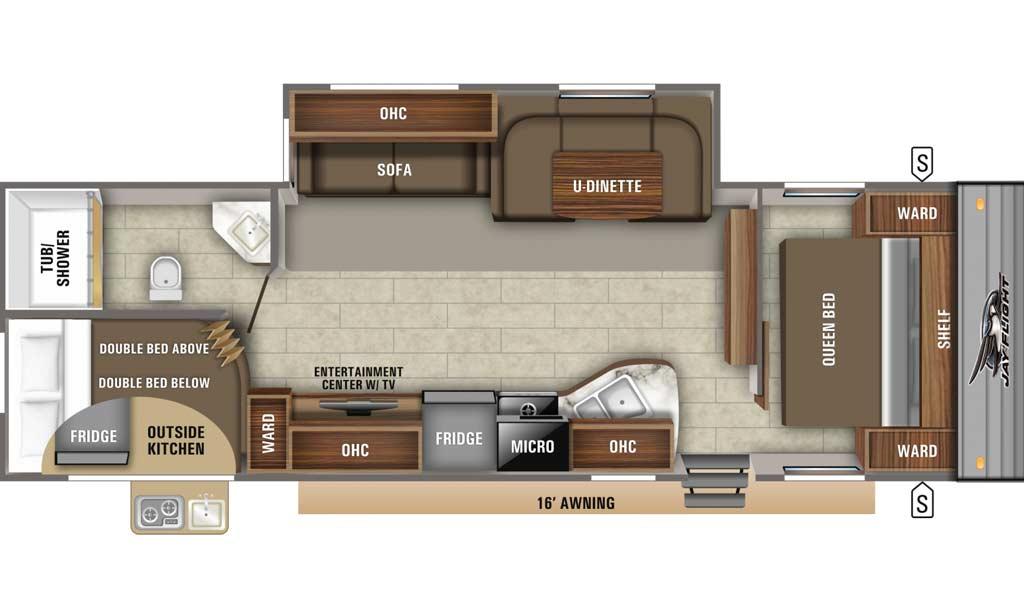 Jay Flight SLX 284BHS floor plan diagram.