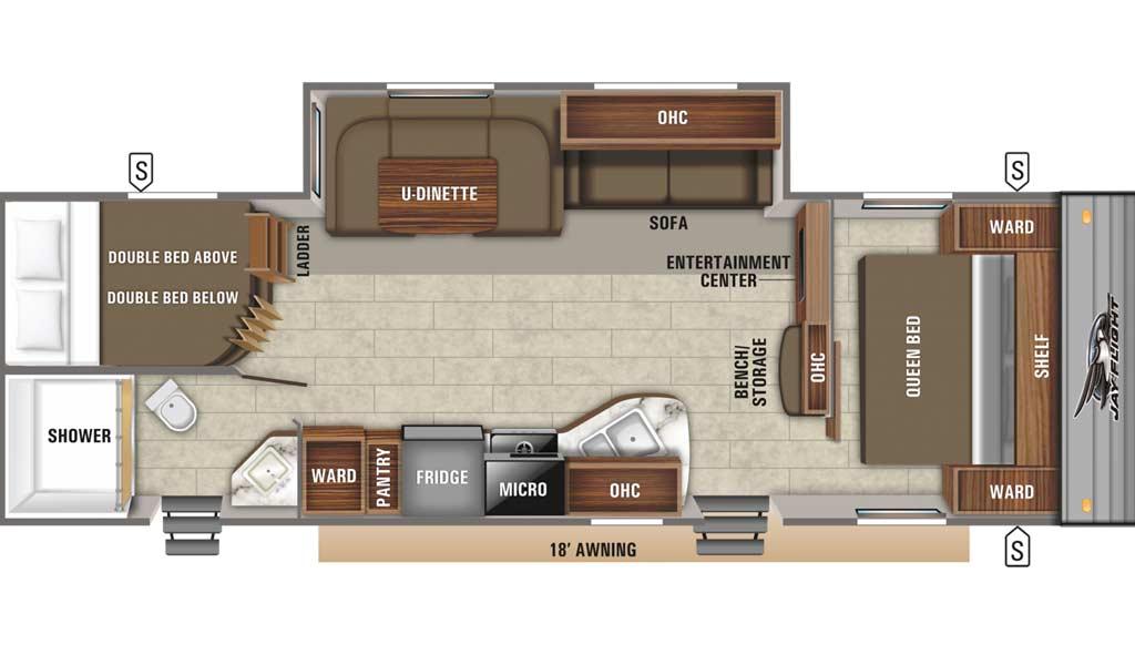 Jay Flight SLX 287BHS floor plan diagram.