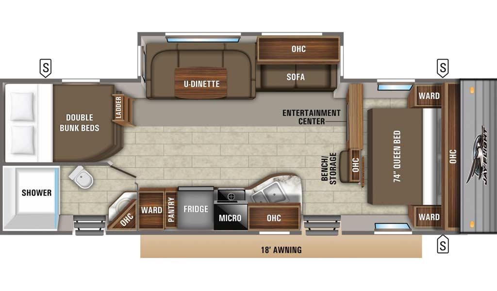 Jay Flight 28BHBE floor plan diagram.