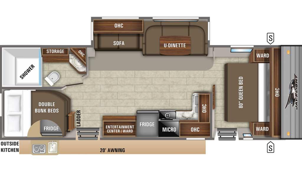 Jay Flight 28BHS floor plan diagram.
