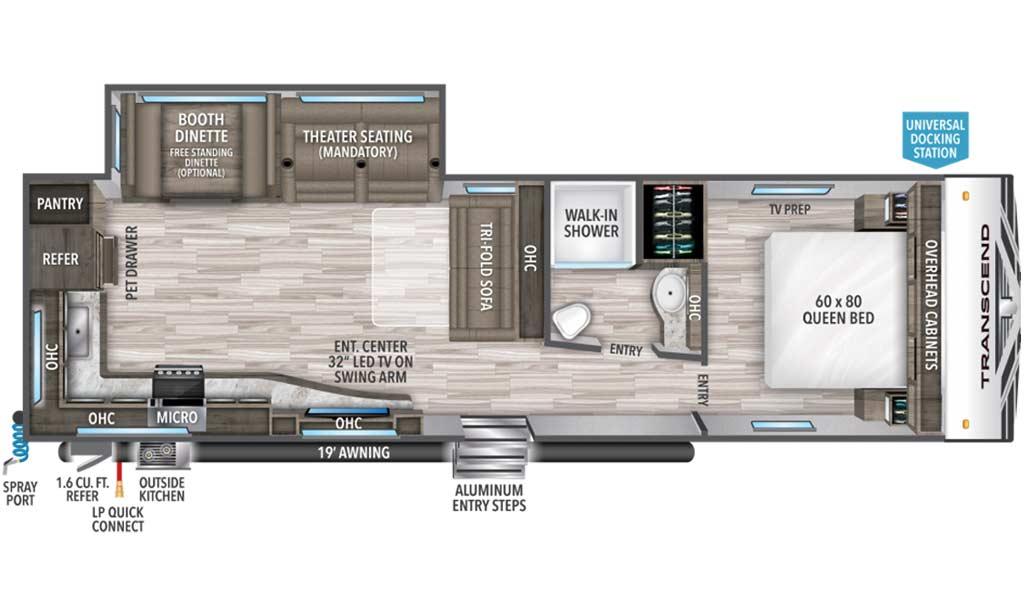 Transcend 28MKS floor plan diagram.