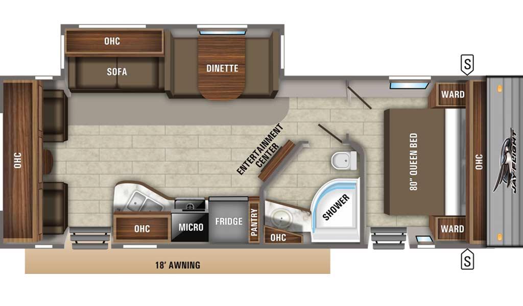 Jay Flight 28RLS floor plan diagram.