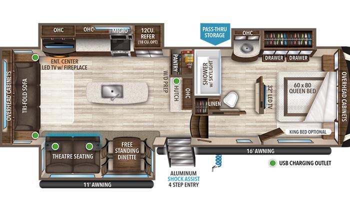 Solitude 2930RL floor plan diagram.