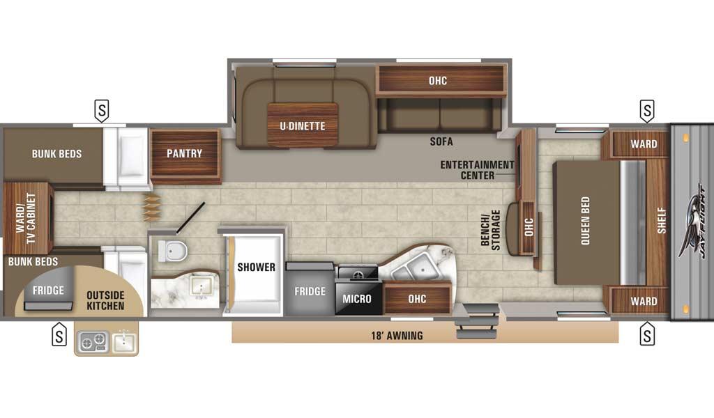 Jay Flight SLX 294QBS floor plan diagram.