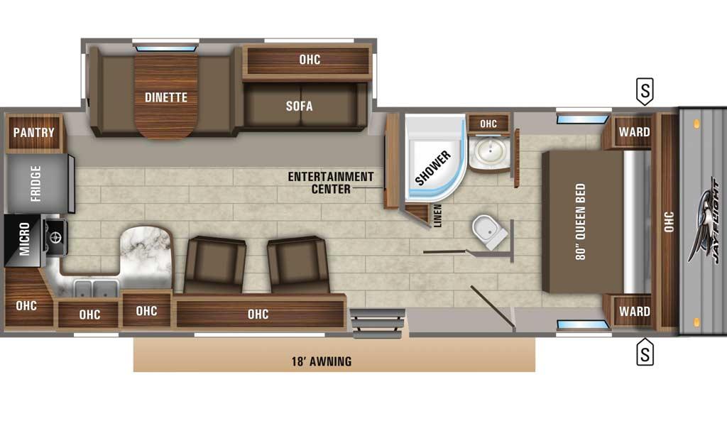 Jay Flight 28RKS floor plan diagram.