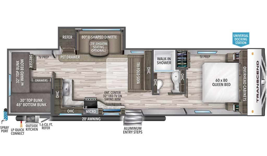 Transcend 29TBS floor plan diagram.