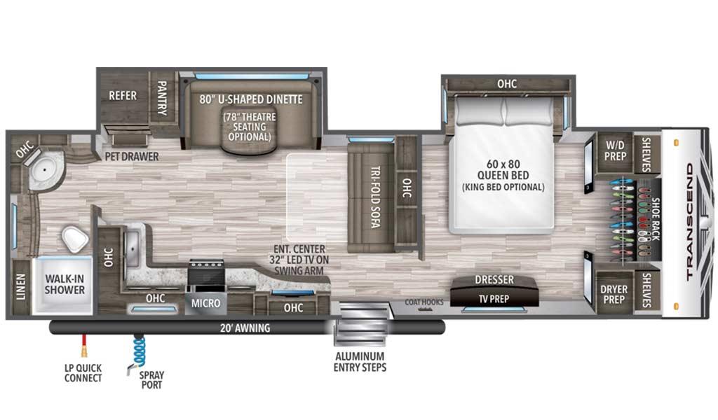 Transcend 30RBS floor plan diagram.