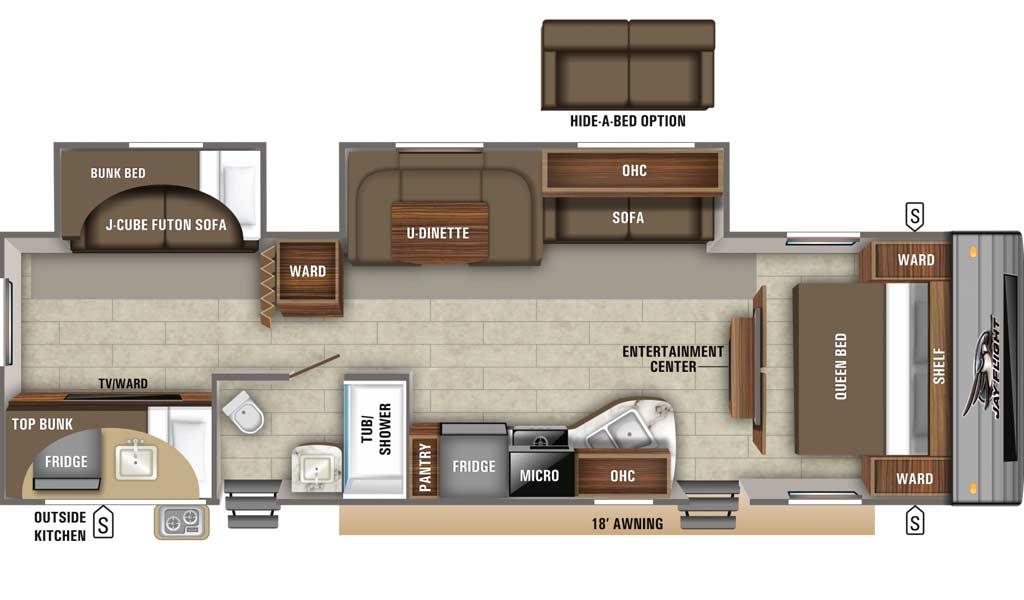 Jay Flight SLX 324BDS floor plan diagram.