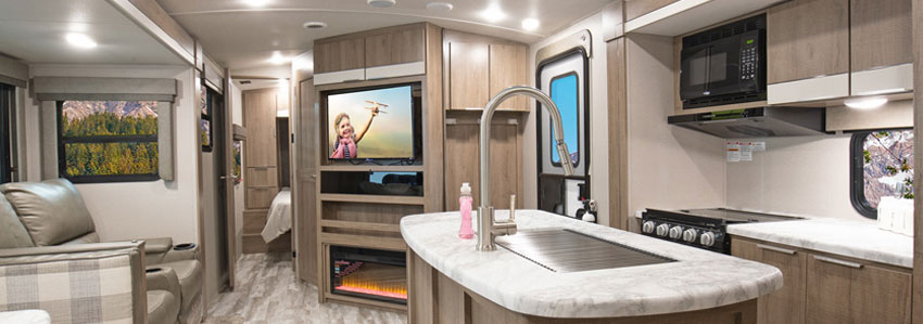 Interior photo of Grand Design Imagine 3250BH travel trailer.
