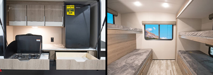 Photo collage of outdoor kitchen and bunk room of Grand Design Imagine 3250BH travel trailer.
