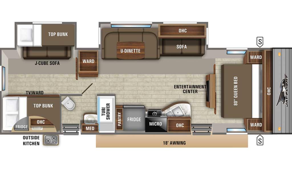 Jay Flight 32BHDS floor plan diagram.