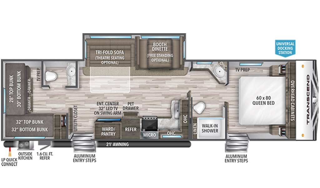 Transcend 32BHS floor plan diagram.