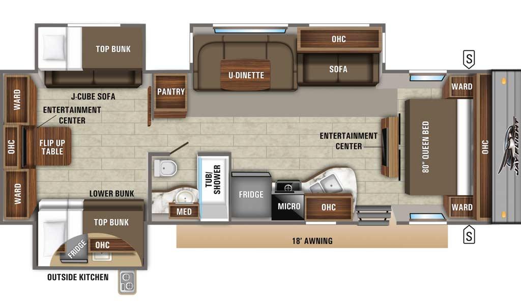 Jay Flight 32TSBH floor plan diagram.