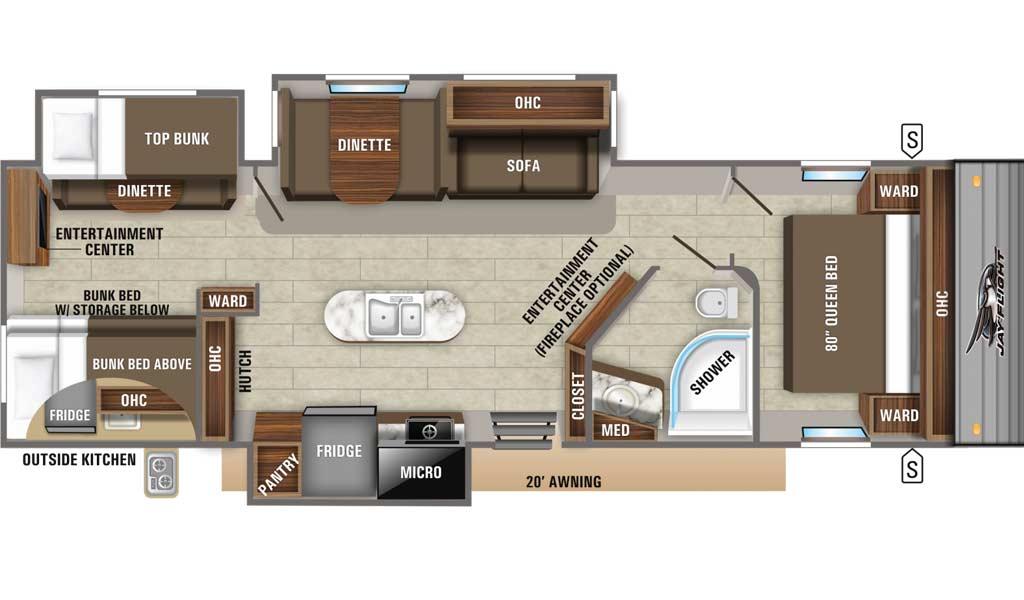 Jay Flight 33RBTS floor plan diagram.