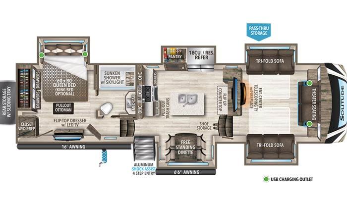 Solitude 346FLS floor plan diagram.