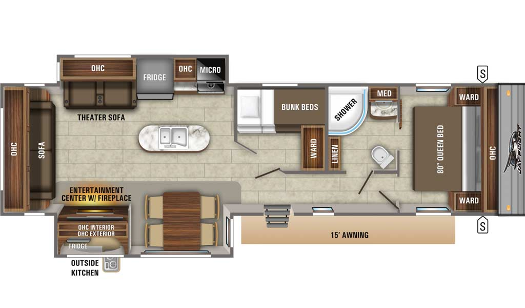 Jay Flight 34MBDS floor plan diagram.