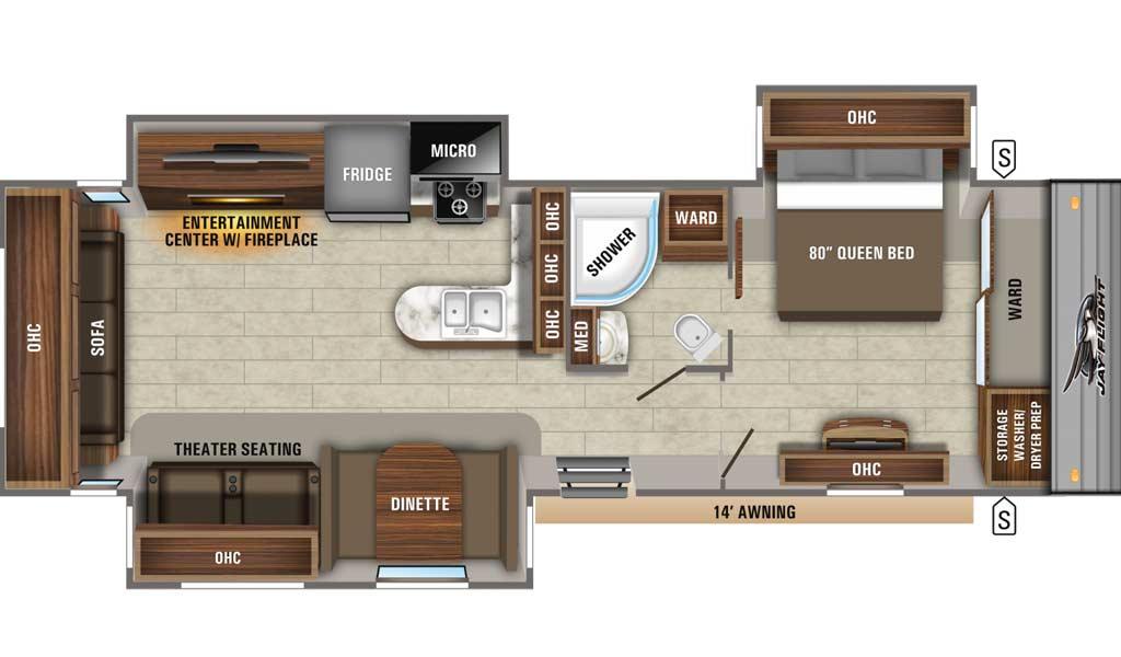 Jay Flight 34RSBS floor plan diagram.