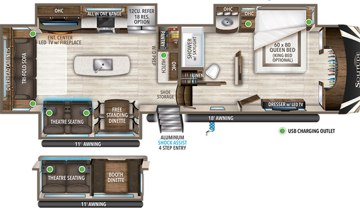 Solitude 3540GK floor plan diagram.