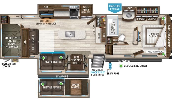 Solitude 3550BH floor plan diagram.