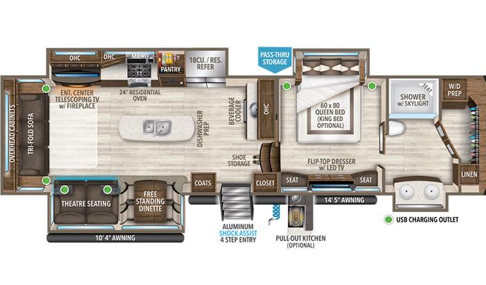 Solitude 372WB floor plan diagram.