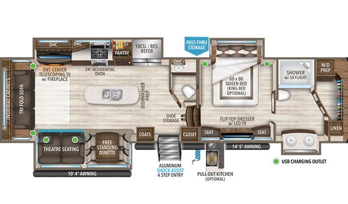 Solitude 373FB floor plan diagram.