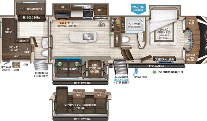 Solitude 3740BH floor plan diagram.