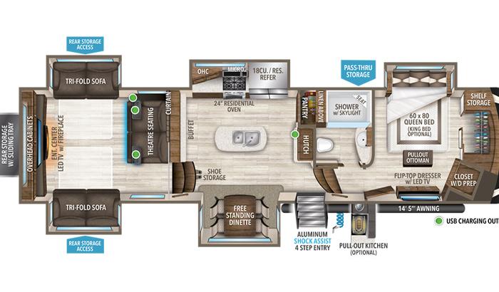 Solitude 375RES floor plan diagram.