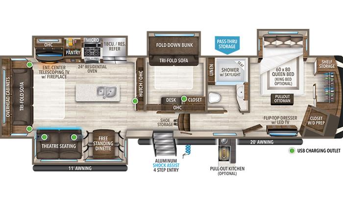 Solitude 378MBS floor plan diagram.