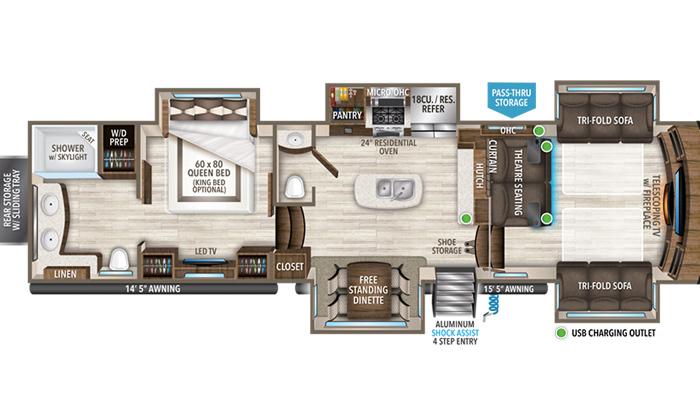 Solitude 380FL floor plan diagram.