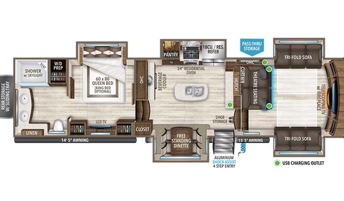Solitude 382WB floor plan diagram.