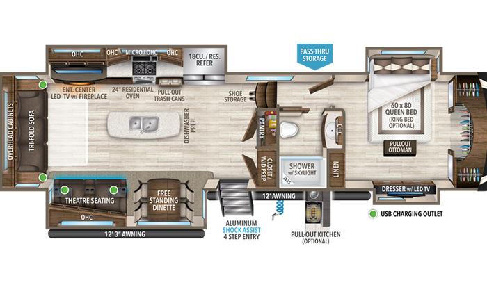 Solitude 385GK floor plan diagram.