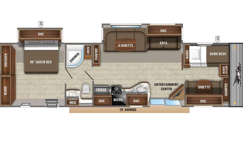 Jay Flight 38BHDS floor plan diagram.