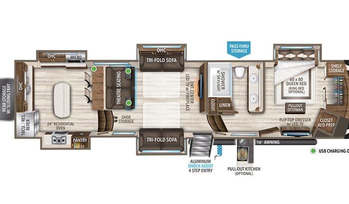 Solitude 390RK floor plan diagram.