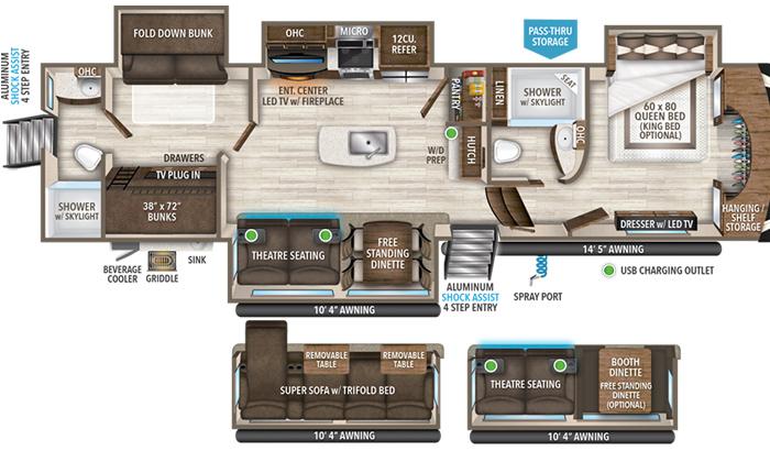 Solitude 3950BH floor plan diagram.
