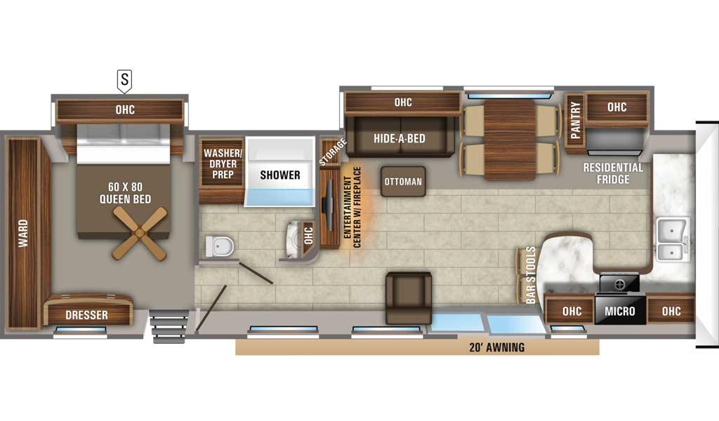 Jay Flight 40FKDS Bungalow floor plan diagram.