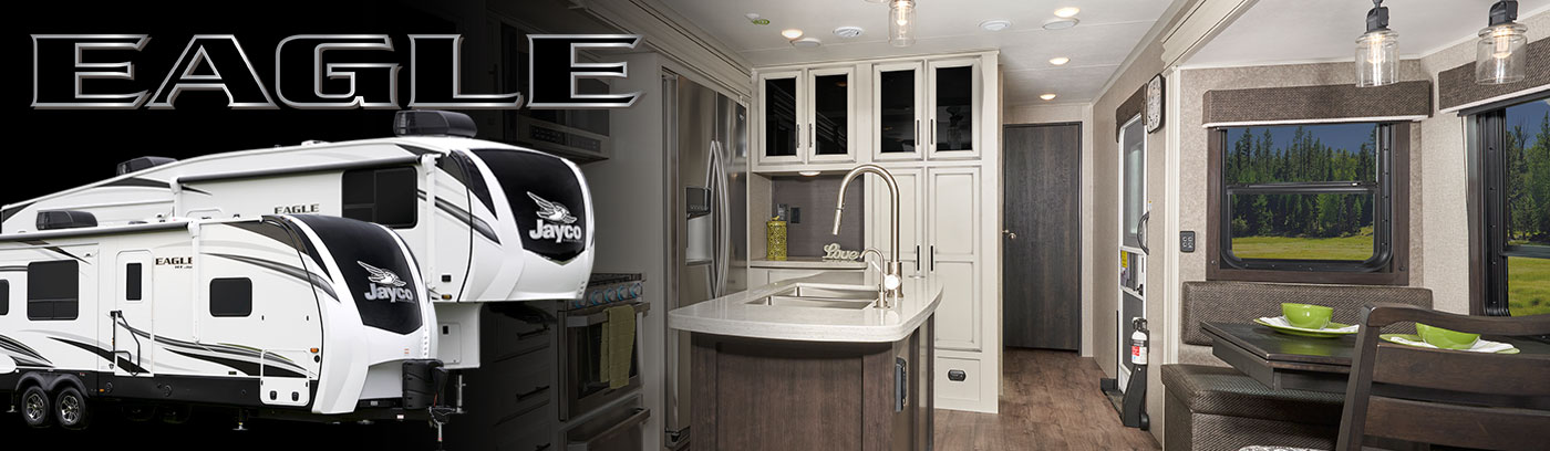 Photo collage of Jayco Eagle fifth wheel and travel trailer exteriors, and interior kitchen.